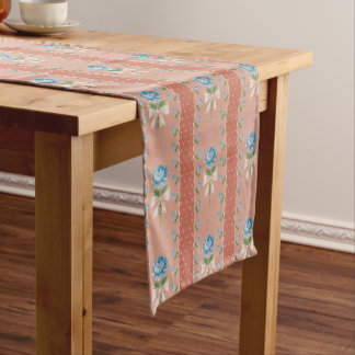 Vintage Blue Roses Coral Dots Wallpaper Pattern Short Table Runner