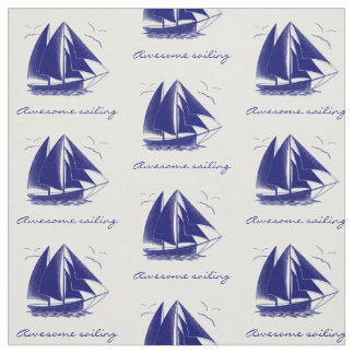 Vintage blue sailboat nautical personalized