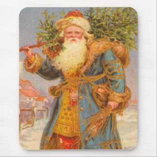 Vintage Blue Santa from Russia Mouse Pad