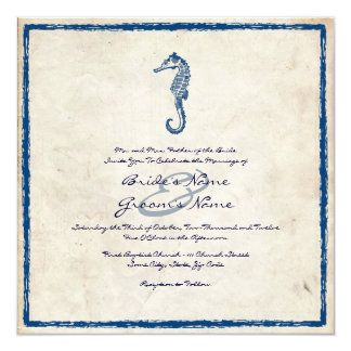 Vintage Blue Sea Horse Beach Wedding Invitation