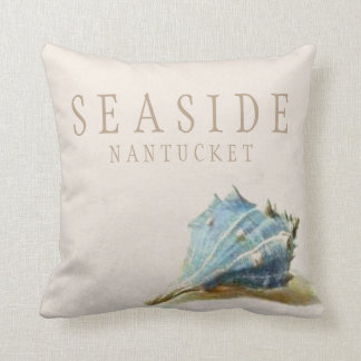 Vintage Blue Seashell Seaside Nantucket Pillow