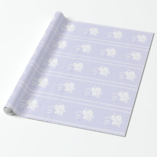 Vintage blue serenity white rose wedding wrapping paper