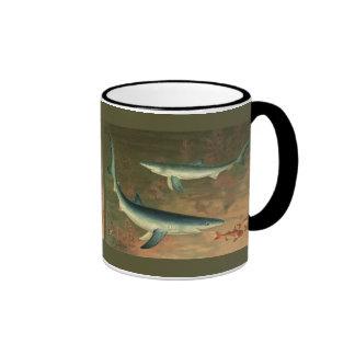 Vintage Blue Shark Eating Fish Marine Aquatic Life Ringer Mug