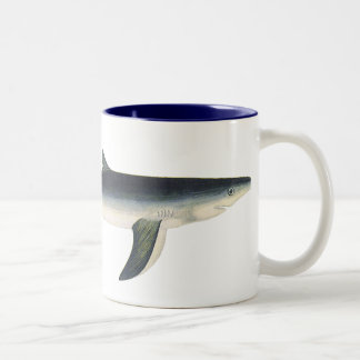 Vintage Blue Shark, Marine Aquatic Ocean Life Two-Tone Mug