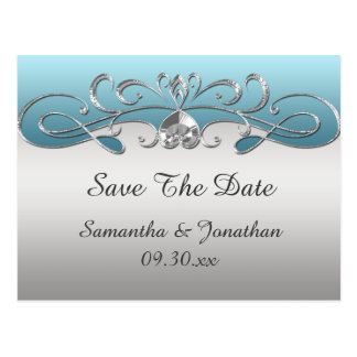 Vintage Blue Silver Ornate Swirls Save The Date Postcard