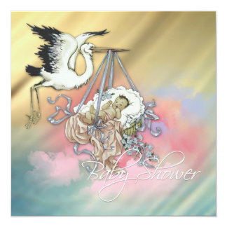 Vintage Blue Stork Baby Boy Shower Personalized Invite