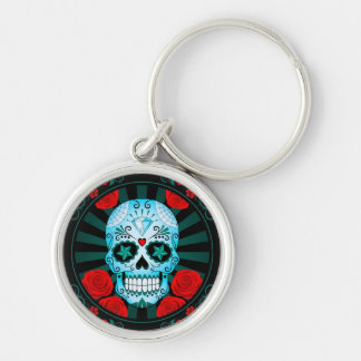 Vintage Blue Sugar Skull with Roses Poster Key Chains