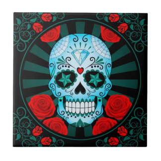 Vintage Blue Sugar Skull with Roses Poster Small Square Tile