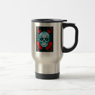 Vintage Blue Sugar Skull with Roses Poster Travel Mug