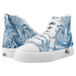 Vintage Blue Swirl Engraving Printed Shoes