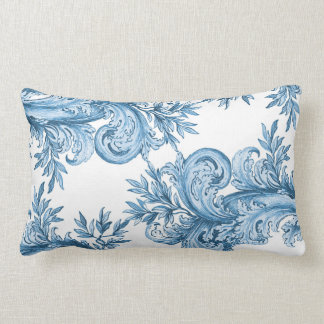 Vintage Blue Swirl Lumbar Pillow
