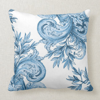 Vintage Blue Swirl Throw Pillow