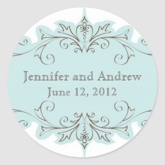 Vintage Blue Swirls Wedding Favour Stickers