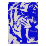 Vintage Blue Tiger On Blue Grudge Poster Finish 13 Cm X 18 Cm Invitation Card