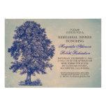 vintage blue tree rustic rehearsal dinner invites