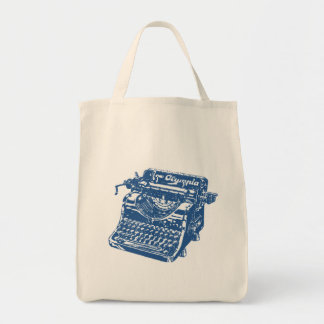 Vintage Blue Typewriter Grocery Tote Bag