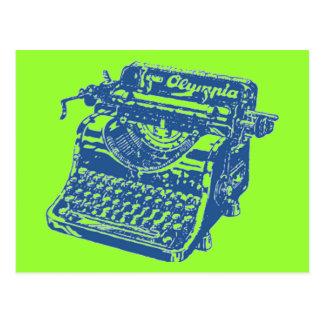 Vintage Blue Typewriter Postcard