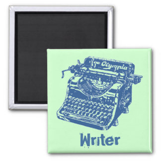 Vintage Blue Typewriter Square Magnet