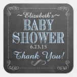 Vintage Blue Typography Baby Shower Square Sticker