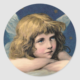 Vintage Blue Victorian Angel Classic Stickers