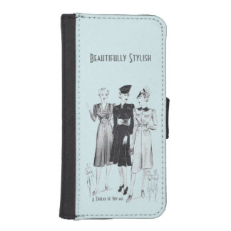 Vintage blue wallet case for iPhone and Samsung