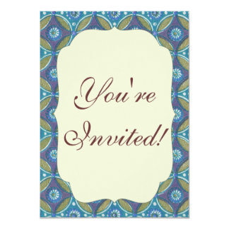 Vintage Blue wallpaper geometric Repeating pattern 11 Cm X 16 Cm Invitation Card