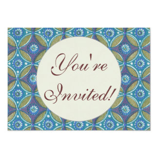 Vintage Blue wallpaper geometric Repeating pattern 4.5x6.25 Paper Invitation Card