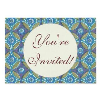 "Vintage Blue wallpaper geometric Repeating pattern 4.5"" X 6.25"" Invitation Card"