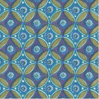 Vintage Blue wallpaper geometric Repeating pattern Standing Photo Sculpture