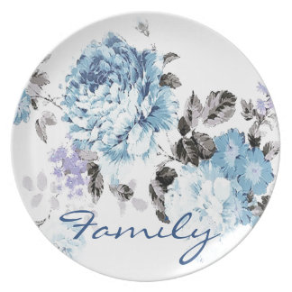 Vintage Blue Watercolor Floral FAMILY Dinner Plate