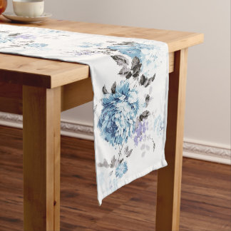 Vintage Blue Watercolor Floral Table Runner