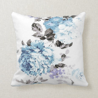 Vintage Blue Watercolor Floral Throw Pillow