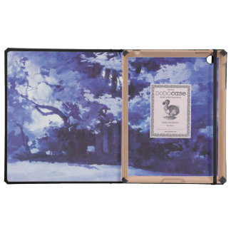 Vintage Blue Watercolor Forest iPad Cases