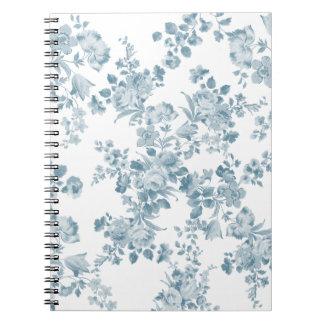 Vintage blue white bohemian elegant floral spiral notebook