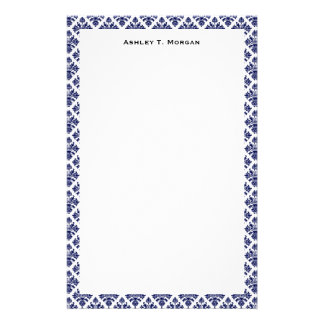 Vintage Blue White Damask #3 Framed Personalized Stationery Paper