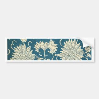 Vintage Blue  & White Floral Print Bumper Sticker