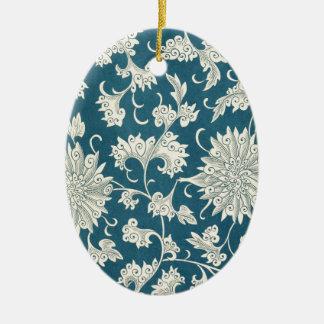 Vintage Blue  & White Floral Print Ceramic Oval Decoration