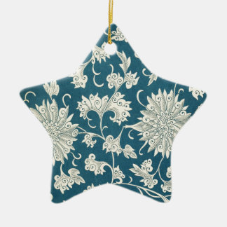 Vintage Blue  & White Floral Print Ceramic Star Decoration