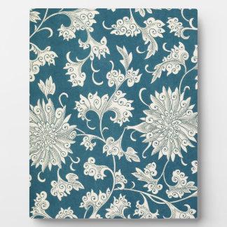 Vintage Blue  & White Floral Print Photo Plaques