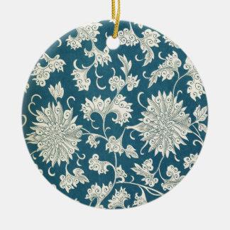 Vintage Blue  & White Floral Print Round Ceramic Decoration