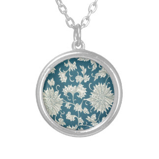 Vintage Blue  & White Floral Print Silver Plated Necklace
