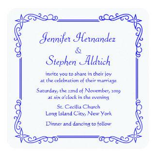 Vintage Blue & White Floral Wedding Invitation