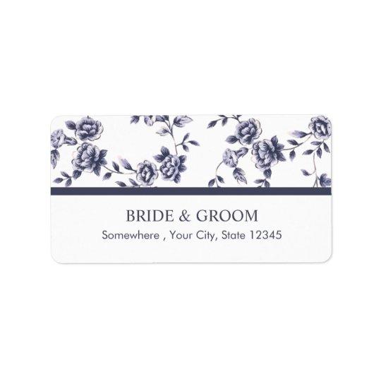 Vintage Blue & White Floral Wedding Label