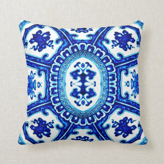 Vintage Blue & White Oriental Vase Design Throw Pillow