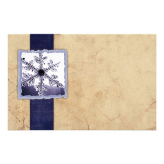 Vintage Blue Winter Snowflake Stationery