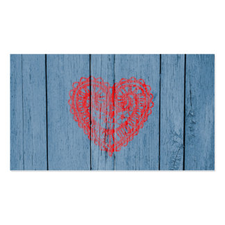 Vintage Blue Wood And Red Lace Heart Pack Of Standard Business Cards