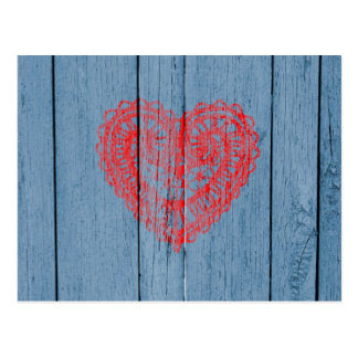 Vintage Blue Wood And Red Lace Heart Postcard