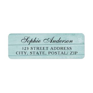 Vintage blue wood wedding return address label