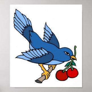 Vintage Bluebird and Cherries Tattoo Art Poster