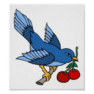 Vintage Bluebird and Cherries Tattoo Art Posters